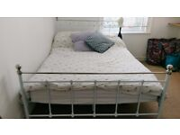 White Metal Detailed Bed Frame inc Double Mattress and Foam Topper