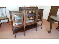 Glass Display cabinet. Estimated to be about 100 years old.