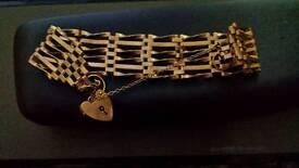 9ct gold 6 bar gate bracelet