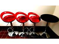 Table and bar stools