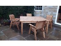 Chunky big square wooden table garden and chairs quality brand new