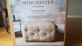 NEW Gallery Winchester Button Fabric Ottoman Luxury Footstool