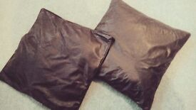 Faux Leather Brown Cushions