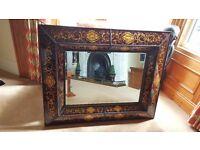 venetian glass over mantel mirror, stunning pincushion design