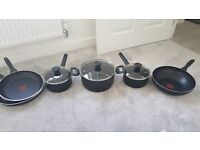 Brand new Tefal pans and thermo spot wok and frying pans