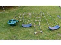 2 x Rebo Swing Seats & 1 x Rebo Baby Swing in Green / 1 x HIKS Rope Ladder