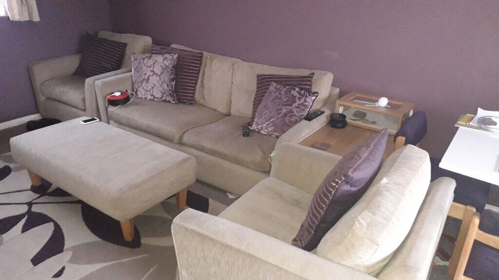 3 Seater Sofa Bed 2 Chairs And Bench In Beige Good Condition 200