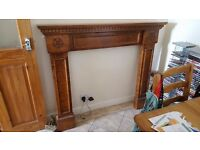 Oak fireplace surround, handmade by local craftsman (company woodrose) Yorkshire rose detail