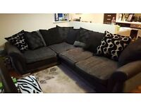 Right Hand Facing, Pillow Back Corner Sofa, Black and grey fabric (dfs)