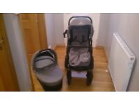Vennici Pram and pushchair including all accessories: changing bag,cup holder,foot muff,rain cover.