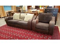 Brown suede 2 seater and armchair with scatter cushions