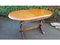 Antique extender solid wood dining table hand carved and made in England