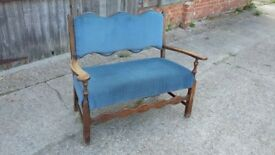 Vintage Oak Settle Upholstered 2 Two Seater Settee.