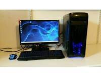 Mint Quad Core Gaming Setup, includes Monitor, Keyboard & Mouse.