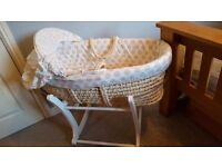 Mothercare Mosses Basket and White Rocking Stand