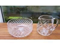 Lead crystal bowl and water jug