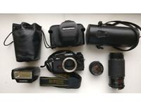 Olympus OM-4 35mm SLR Film Camera with 50mm F1.8 & 70-200mm F4 & Flash - £260