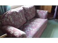 2 seater drop arm sofa in pink dralon