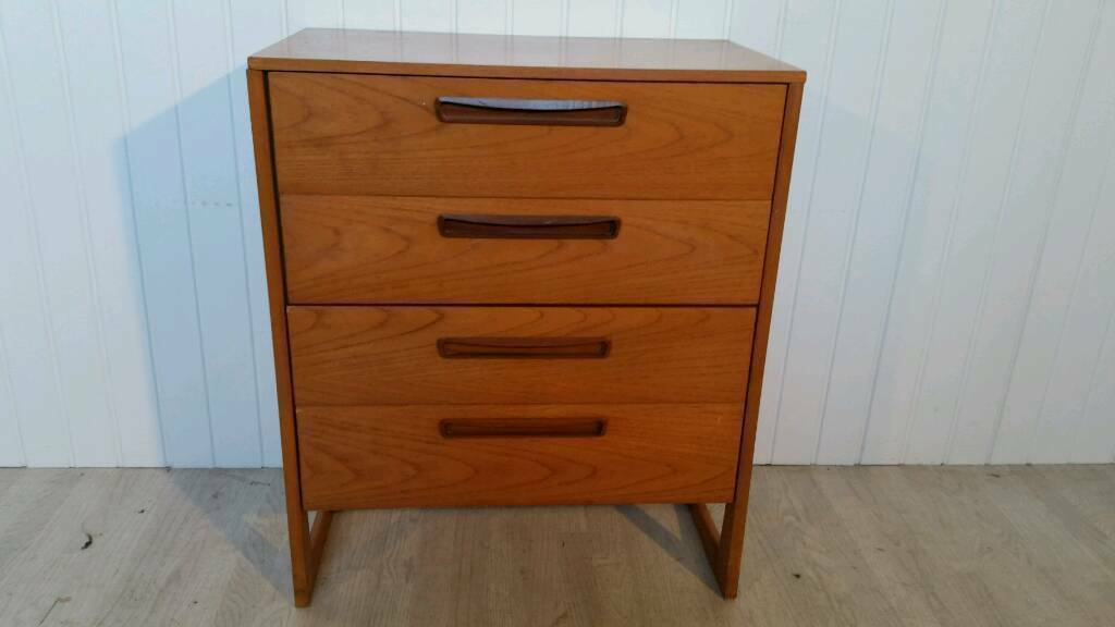 Attractive Mid Century Vintage 1960's Solid Teak Chest of Four Drawers