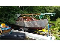 *BEST OFFER ACCEPTED, RENOVATION PROJECT* 16.6FT 2 Birth Sailing Boat with Trailer Worth £300 - £400