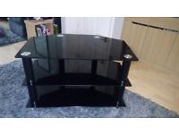 Black Glass television unit in excellent condition no scratches