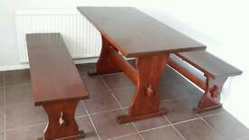 Rustic kitchen table with two benches