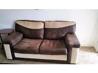 SUEDE EFFECT HARDLY USED SOFA BED.