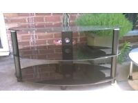 TV stand Oval Black glass 3 tiers