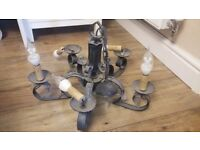 Gothic/rustic style heavy vintage ceiling light/chandelier, 5 arms, needs some work