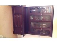 Dark wood floor standing sideboard with display cabinet above - v good condition