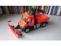 Playmobil Truck with Crane & Tipper Back Snow Plough Lorry / Flashing Lights in Excellent Condition