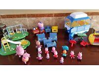 Peppa Pig Bundle , Peppa Grandpas Train , School Ice Cream Van , Camper Van Characters £25 ono