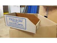Waxed cardboard Fold-a-Bins. Job lot (qty 810 various sizes)