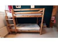 Bunk bed Junior single size pine with mattresses