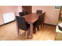 Dining Table for 6 with 8 Leather Chairs in Very Good Condition