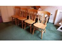 Four Solid Oak Fiddleback Dining Chairs