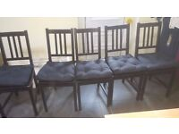 Dining Table and 6 x Ikea Chairs with seat cushions
