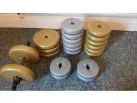 Dumbell and york weight plates (60kg total)