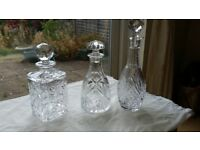 Set of 3 cut glass decanters