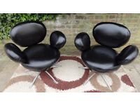 PAIR OF MODERN DESIGNER MOUSE EARS SWIVEL DESK CHAIRS VERY GOOD CONDITION SEATS