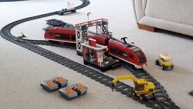 LEGO Train Set with Passenger Train, Cargo Train, Station, Level Crossing, Lorries and Track