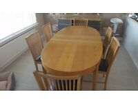 Extendable oak Ikea dining table and 6 chairs with free matching sideboard