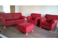 2-1-1 suite with footstool. red fabric. very good condition.