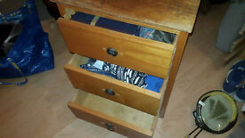 Wooden Bedside Table, Three Draws, fully functioning, requires cosmetic TLC!