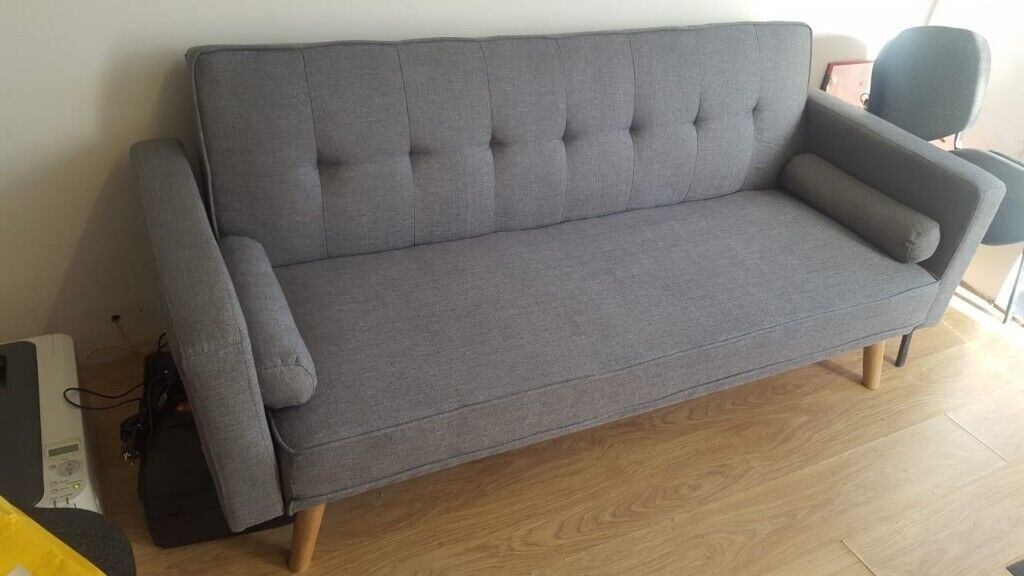 Retro Modern Design Fabric 3 Seater Comfort Sofa Bed With 2