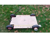 "Doorway dolly strong, lightweight camera tracking dolly. 2 wheel ""no tip"" steering. Pneumatic tyres."