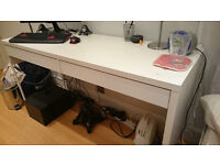 Ikea MICKE desk in white with cable outlets and compartment at back