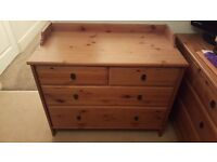 LARGE ANTIQUE PINE CHEST OF DRAWERS x 2