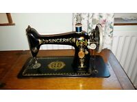 "1917 Singer Model 66, ""parlour"" treadle sewing machine with rare full oak veneer cabinet £100 ovno"