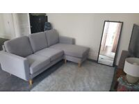 Grey 3 seater corner sofa (only 3 months old)